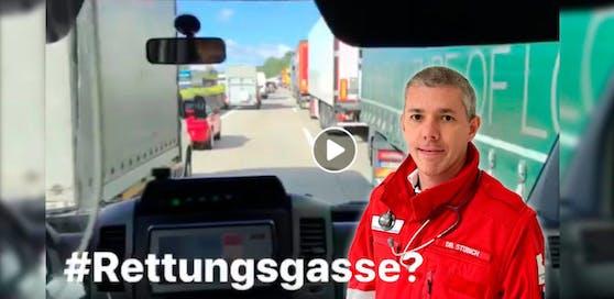 Notarzt Christoph Stöbich aus Linz erreicht mit seinem Rettungsgassen-Video jetzt auch die deutschen Medien.